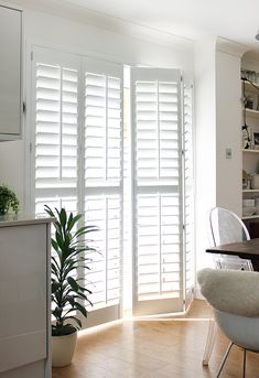 The obvious choice is patio door curtains but shutters are one of the best window dressing treatments for patio doors. Wooden Shutters Indoor, Sliding Glass Door Shutters, French Door Shutters, Patio Door Shutters, Bedroom Shutters, Patio Windows, Patio Door Curtains, Diy Shutters, Sliding Patio Doors