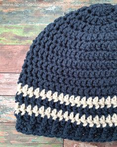 Easy Men's Beanie Crochet Pattern (CAL for a Cause) | Hooked on Homemade Happiness Fast Crochet, Crochet Men, Easy Crochet Hat, Mens Beanie Crochet Pattern, Beanie Pattern, Crochet Patterns For Beginners, Easy Crochet Patterns, Knitting Patterns, Men's Beanie