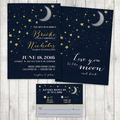 Love You to the Moon and Back Wedding Invitation - Moon and Stars Invitation and RSVP Card - Naby Blue and Gold Invitation Suite Printable