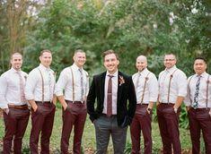 Colorful Bohemian Backyard Wedding in Lakeland, Florida - The Ganeys Groomsmen Suspenders, Groom And Groomsmen, Serie Suits, Vintage Groom, Wedding Vintage, Jewel Tone Wedding, Marriage Day, Groom Outfit, Wedding Styles