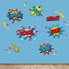 Superhero Wall Decals, Superhero Sayings Decal, Pow Zap Boom Wall Decals, REUSABLE DECALS