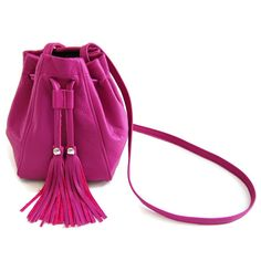Hey, I found this really awesome Etsy listing at https://www.etsy.com/listing/236447922/raspberry-pink-leather-bucket-bag