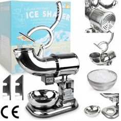WYZworks Stainless Steel Commercial Heavy Duty Ice Shaver with 2 Extra Blades - Sno Snow Cone Shaved Icee Maker Machine