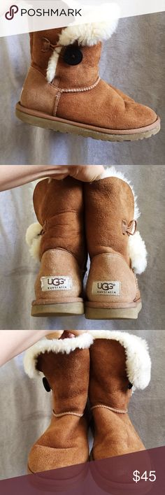 Bailey Button UGG boots in chestnut ❄️ small amount of dried ice around the toe • can easily be removed if dry-cleaned • in great condition | would fit EU 37/38 • UK 4/5 • US 6/6.5/7 #ugg #winter #winterboots #uggboots #australia UGG Shoes Winter & Rain Boots