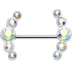 Round Aurora Gem Quintet Nipple Shield #bodycandy #bodyjewelry $9.99