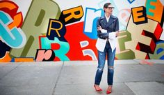 J. Crew's Jenna Lyons wears her Point Sur X-Rockers in front of the new store site  in Williamsburg, Brooklyn.
