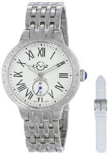 GV2 by Gevril Women's 9100 Astor Stainless Steel Bracelet Interchangeable White Leather Strap Diamond Watch Set