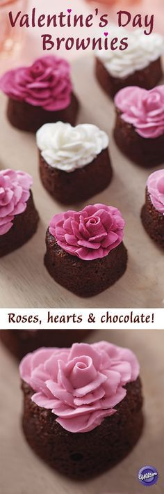 Valentine's Day Brownies - Make your Valentine's Day sweeter with these heart brownies decorated with a pretty buttercream rose!