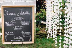 chalkboard wedding program - photo by Dana Fernandez Photography http://ruffledblog.com/organic-and-romantic-texas-wedding