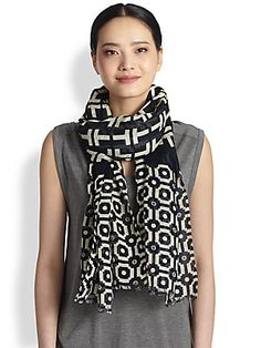 Tory Burch Fret Tile Scarf