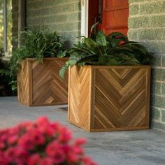 Wood Chevron Planter.