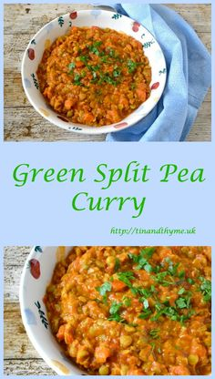 Green Split Pea Curry. Includes carrots, tomatoes & mild spices, this is a frugal and nutritious but delicious vegan pulse dish.