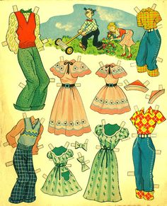 Blondie 1954 - Bobe Green - Picasa Web Albums Free Paper, Diy Paper, Paper Crafts, Blondie And Dagwood, Paper Doll Template, Wooden Clothespins, Bobe, Summer Crafts, Kids Crafts
