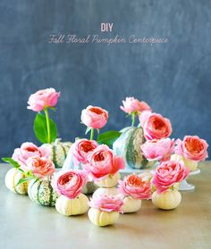 """Fall is here! And we are so excited to share with you an easy + pretty fall inspired floral DIY. These mini pumpkins with garden roses are so fun for a fall tablescape at home or wedding decor piece! Thanks to Kiana Underwood for sharing this DIY, let's see how she did it… """"I simply adore autumn. […]"""