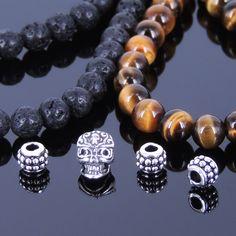 DIY Gemstone Bracelet Kit Tiger Eye Lava Rock Sterling Silver Skull Spacer 368EK #DIYNotion