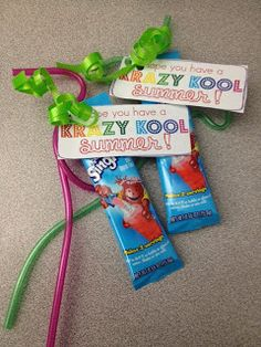 End of school treat, I hope you have a Krazy Kool Summer.  Did this last year, added a bottle of water, and it was a hit.  Would love to again but should change it up.