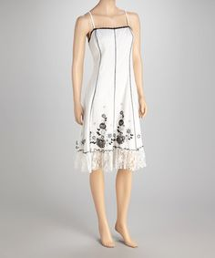 Take a look at this White Floral Lace Hem Dress by Mystery on #zulily today!