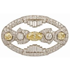 1930's Platinum Diamond Brooch art deco