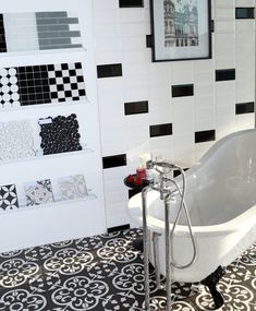 Monochromatic bathrooms are timeless. Create your own version of this look by mixing black and white metro tiles with mosaics, checkerboard patterns and black and white encaustic patterned tiles. Tiles, Glass Tile, Monochromatic Bathroom, Tile Patterns, Metro Tiles, Black And White, White Patterns, White Tiles, Checkerboard Pattern