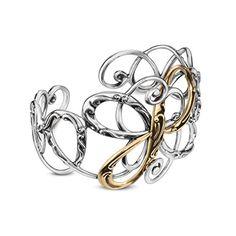 Carolyn Pollack Genuine .925 Sterling Silver Brass Swirl Cuff Bracelet