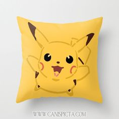 Pikachu Pokemon Throw Pillow 16x16 Graphic Print Art Cover Anime Decorative Creature Yellow Gold Gotta Catch them All Nursery 90's Kid by CanisPicta, $35.00