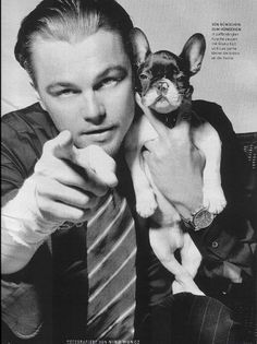 Leonardo DiCaprio and his French Bulldog! True love does exist... I like his puppies expression looks like Leo may have given him some one-on-one acting classes :)