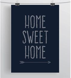 Navy Home Sweet Home Print Home Decor Gift Idea by PrintAvenue