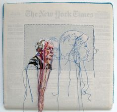 embroidered newspaper pictures, by Lauren DiCioccio Newspaper Pictures, Newspaper Art, Paper Embroidery, Cross Stitch Embroidery, Machine Embroidery, Street Art, Thread Painting, A Level Art, Sewing Art