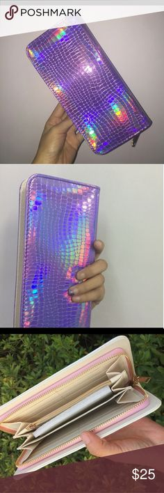 PURPLE METTALLIC WALLET PURPLE METTALLIC WALLET MADE FROM PU LEATHER ZIP AROUND CLOSURE WILL FIT MY ANDROID PHONE SUPER CUTE AND FUN PRICE FIRM UNLESS BUNDLED SORRY NO TRADES Bags Wallets