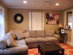 orange and beige living room