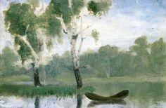 Edvard Munch (Norvège, 1863-1944) Petit lac avec bateau 1880