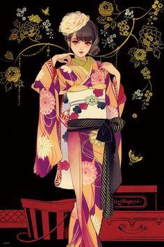 Geisha Kunst, Geisha Art, Anime Kunst, Anime Kimono, Japan Illustration, Geisha Anime, Manga Art, Anime Art, Korean Art