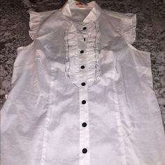 FINAL PRICE❤️NWOT Black & White Ruffle Blouse Adorable black and white blouse buttons down front with ruffle detail. Trim on ruffle is black. Ends of sleeves also have ruffles. Brand new condition! Forever 21 Tops Blouses