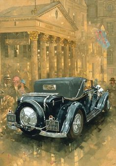 Great Big Canvas 'Phantom in the Haymarket' by Peter Miller Painting Print Size: H x W x D, Format: Canvas Vintage Images, Vintage Posters, Vintage Art, Vintage Ideas, Car Painting, Painting Prints, Paintings, Car Illustration, Illustrations