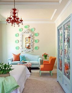 green and orange living room - Decoist