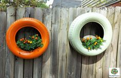 DIY Hanging Tire Planters
