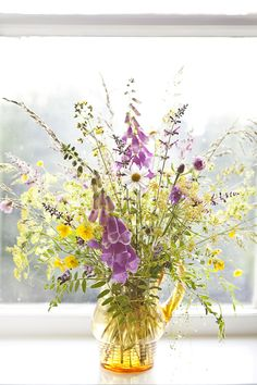 Clare West Photography - Foxgloves, Buttercups, Ladies Mantle, clover - Wild Flower Bouquet