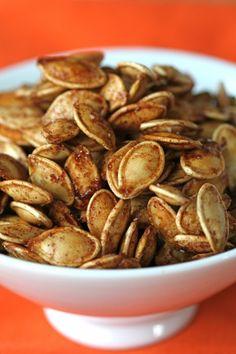 Spiced pumpkin seeds - olive oil, kosher salt, maple syrup, brown sugar, cinnamon, ginger, cardamon