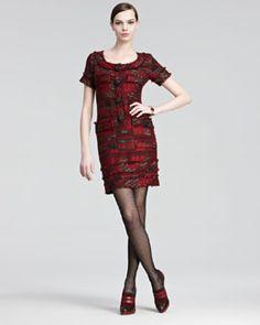 Love this tweed dress. Right on trend for fall.  Oscar de la Renta Jewel-Buttoned Tweed Dress