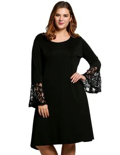 Women Fashion Plus Sizes Flare Long Sleeve Solid A-Line Short Casual Dresses