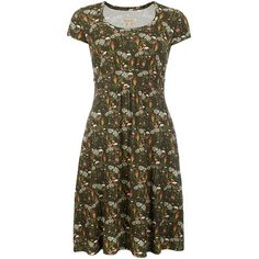 Women's Barbour Wytherstone Dress - Olive (4.680 RUB) ❤ liked on Polyvore featuring dresses, floral dresses, floral day dress, floral print dress, flower print dress and olive dress