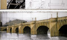 """Christo The Pont Neuf, Wrapped (Project for Paris) Drawing 1985 in two parts 15 x 96"""" and 42 x 96"""" (38 x 244 cm and 106.6 x 244 cm) Pencil, charcoal, wax crayon, pastel, fabric sample, aerial photograph and technical data"""