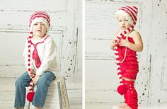 How cute are these?! Santa Red & White Stripe Elf Hat