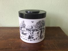 Vintage Black and White Milk glass jar, Maxwell house coffee canister, humidor container, kitchen storage container, winter sleigh scene by 2roads2take on Etsy https://www.etsy.com/listing/246811109/vintage-black-and-white-milk-glass-jar