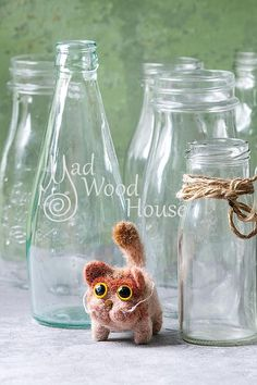 Felted Cat Art Doll Needle Felting Animal Wool Sculpture Miniature Doll Eco-friendly cat figurine Funny Red Cat