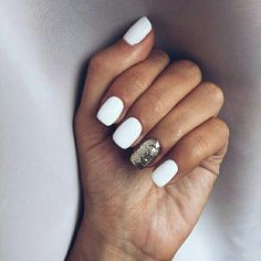 60 Must Try Nail Designs for Short Nails Short Acrylic Nails; Chic and fun Nails; Short Nail Designs, Simple Nail Designs, White Nail Designs, White Nails With Design, Nail Designs For Fall, Accent Nail Designs, Stylish Nails, Trendy Nails, White Glitter Nails