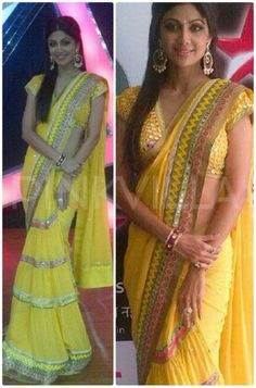 Shilpa Shetty was seen on the sets of her reality dance show 'Nach Baliye', wearing a Surily Goel saree. She teamed this with Anmol jewels and partly. Bollywood Actors, Bollywood Fashion, Indian Outfits, Indian Clothes, Ethnic Chic, Ethnic Sarees, Shilpa Shetty, Asian Bridal, Asian Fashion