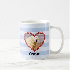 Custom dog photo paw prints memory blue stripe coffee mug (Thank you to the customer from Missouri)