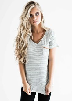 striped tee soft tee, blonde hair, style, fashion, womens fashion www.facebook.com/...
