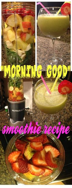 "The ""MORNING GOOD"" nutribullet smoothie recipe: Kale, Banana, Apple, Pineapple, Strawberry, Flax Seed & Pumpkin Seed. Boost your metabolism while enjoying this tropical treat packed with nutrients and vitamins :) My Slice of Sunday"